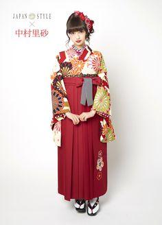 red hakama + cute patterned kimono