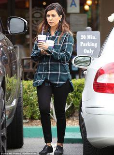 Kourtney Kardashian wearing  Oxfords basic plaid button down and jeggings