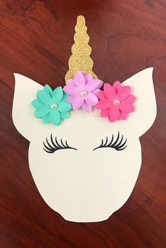 Thank you for viewing my shop :) This listing is for Unicorn head cut outs/dye cuts. They are so cute, pictures do not give them justice. Perfect for DIY party decorations or for goodie bags. Made out of 1. 65 lb card stock 2. Unicorns- Cream colored textured, Measuring 5.5