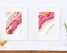 Agate II Abstract Watercolor: Art Print Agate Art by versoPRINTS