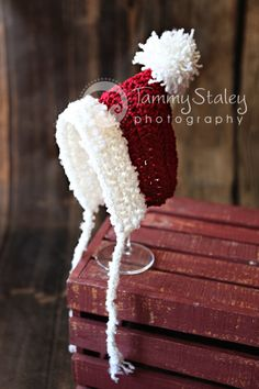 Newborn Santa pixie gnome hat with ties  perfect for photo prop boy or girl FREE SHIPPING. $20.00, via Etsy.
