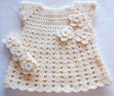 Baby Crochet Flower Dress Headband Set