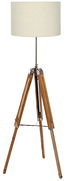 Nauticalmart natural wooden lamp stand with off-white shade: Amazon.it: Illuminazione