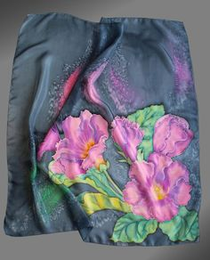 Hand painted silk scarf with gloxinia flowers. Gray and pink silk scarf. in cm). Fabric Painting, Fabric Art, Hand Painted Sarees, Silk Art, Painted Clothes, Handmade Scarves, Painted Silk, Floral Scarf, Pink Silk
