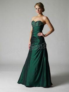 A-line Sweetheart Beading Sleeveless Floor-length Taffeta Prom Dress