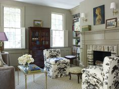 Room of the Day ~ here's the chintz slipper chairs in living room of historic preservationist Olivia Brock