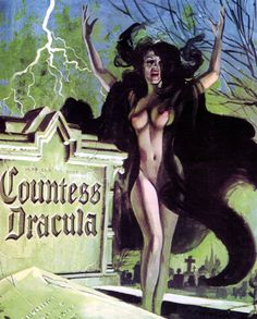 Movie poster for the Hammer horror film Countess Dracula.
