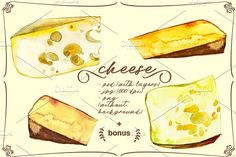 cheese, watercolor, seamless pattern by Olesya Morokhovets on @creativemarket