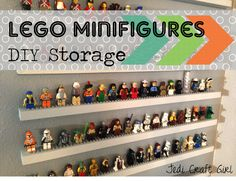 Jedi Craft Girl: DIY Lego Minifigure Storage Shelves Tutorial--so cool Lego Shelves, Lego Storage, Diy Storage, Storage Shelves, Shop Storage, Legos, Mini Figure Display, Bag Sewing, Lego Display