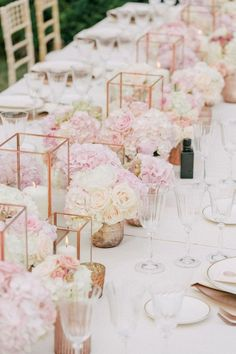 gorgeous geometric pink nad ivory roses wedding centerpieces