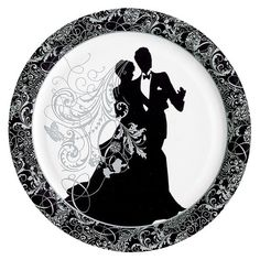 Silhouette Dinner Plates count) Description: Celebrate a wedding or bridal shower in style. These Silhouette Dinner Plates count) have a white backgroun Plastic Dinnerware, Wedding Cross Stitch, Wedding Silhouette, Wedding Plates, Indoor Wedding, Floral Border, Wedding Cake Toppers, Paper Plates, Paper Napkins