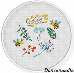 Instant Download pdf ,Cross stitch pattern printable,modern,funny bee, cute flower floral collection and bee,zxxc0941