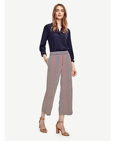Image of Multi Stripe Wide Leg Crop Pants