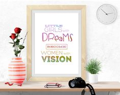 Nursery Printable Art 8x10 Download Girl's Wall Art motivational print, little girls with dreams, bedroom decor, nursery print,  girl decor by InArtPrints on Etsy