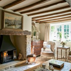 Home Sweet Home: French Cottage Charm - French Regency-Style Cottage House Tour When the owners of this Wiltshire cottage bought it in its dilapidated state was one of its most attractive q French Country Bedrooms, French Country Living Room, French Country Cottage, French Country Decorating, English Cottage Style, English Country Cottages, French Country Fireplace, French Rustic Decor, Cottage Decorating