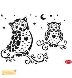 Viva-Decor-Universal-Schablone-EULEN-Owls-DIN-A4-stencil-Schablone