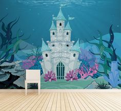 Underwater Castle Wallpaper by Sticky! Wallpaper Stickers, Kids Wallpaper, Photo Wallpaper, Underwater, Castle, Wallpapers, Artwork, Art Work, Work Of Art