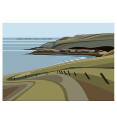 LTD EDITION PRINT. Uk Welsh Coast Minimal contemporary archival art print, inspired modernist design - By Ian Mitchell Landscape Illustration, Illustration Art, Japanese Prints, Travel Posters, Find Art, Printmaking, Illustrators, Canvas, Abstract Art