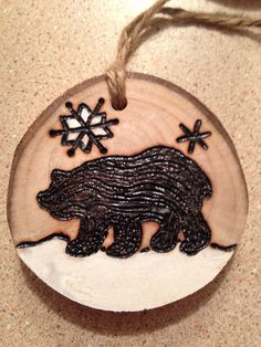 Rustic Bear and snowflake hand painted wood burned Christmas ornament - natural wood