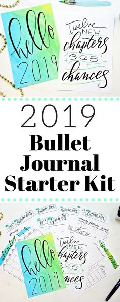 Bullet Journal Starter Kit for 2019! Do you want to start a bullet journal this new year but don't have the time or the skills? Download this printable Bullet Journal Starter Kit and finally get organized in 2019! Printable Bullet Journal Spreads include Cover page, Hand lettered quote, Calendex, year at a glance, bullet journal key, 2019 Goals, and bullet journal future log! #bulletjournal #bulletjournalcommunity #printables #plannerprintables