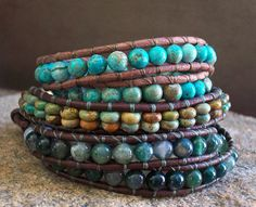 *1x Leather Wrap Bracelet Southwest Design Green Turquoise Beaded, Southwestern - That's an expensive stack! But Fun every day bracelets. :)