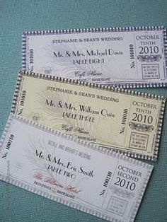 Tickets for seating at a wedding/reception