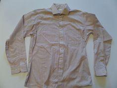 ARROW BRIGADE Men's Shirts S-16.5 Pink Cotton Blend Long Sleeve Very Good #Arrow #ButtonFront