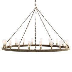 This 20-light chandelier is the largest version in the Geoffrey Collection. Hanging by a purposely rusted chain, the large, gray wood ring makes an impressive statement when hanging from a beam in a Great Room or hung above a large round dining table. The Edison bulbs in the photo reinforce the rustic, industrial feel. Additional chain available CHN-987. Damp rated, can be used in covered outdoor areas.  Material: Wood, Iron Finish: Gray, Rust  *Damp rated products are approved for use ...