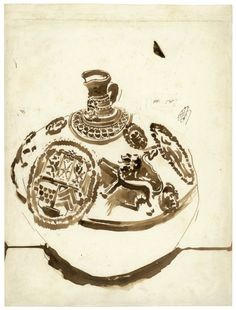 Victor Hugo (French, 1802 - 1885) A Stoneware Jug, 1850 Pen and brush and brown ink on laid paper, 329 x 248 mm