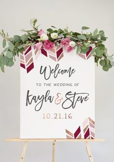 chevron wedding welcome sign with rose gold blush