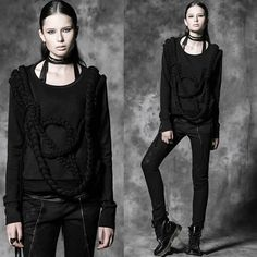 Designer Black Gothic Fashion Pullover Sweatshirt Jacket Clothing Women SKU-11401458