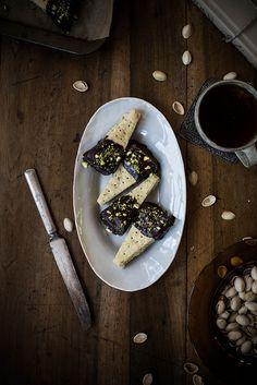 chocolate dipped pistachio shortbread