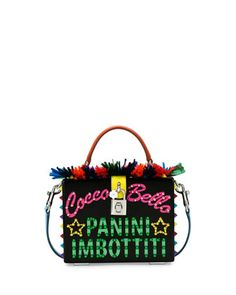 St.+Dauphine+Cocca+Bella+Box+Top-Handle+Bag,+Black/Multi+by+Dolce+&+Gabbana+at+Neiman+Marcus.