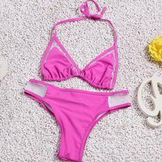 Solid color sexy triangle bikini