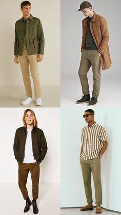 If monochrome was menswear's first all-neutrals obsession, earth tones are its second. From muted moss to khaki, sand to russet, this color palette is arguably one of the most versatile out there. Monochrome Outfit, Neutral Outfit, Colourful Outfits, Colorful Fashion, Men Looks, Casual Outfits, Men Casual, Fashion Outfits, Mens Clothing Styles