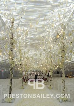 This week in our #EventIdeas #Blog we are highlighting #winter #wedding #aisle #decors.  Click the image to see more options.  For more inspiration visit us at prestonbailey.com  #prestonbailey #white #ivory