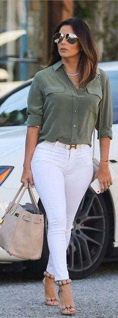 Who made Eva Longoria's gold aviator sunglasses, tan tote handbag, green button down shirt, white belt, and beige suede sandals? https://smart.link/59d4e2eef5ce5