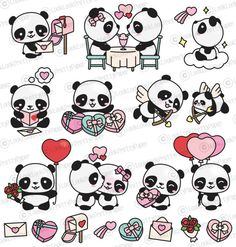 Premium clipart for Valentine's Day Pandas - ., Premium clipart for Valentine's Day Pandas – , Valentines Day Drawing, Valentines Day Clipart, Cartoon Drawings, Animal Drawings, Cute Drawings, Griffonnages Kawaii, Cute Panda Drawing, Art Disney, Valentine's Day Poster