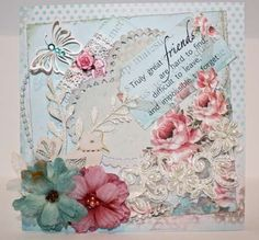 friends with hearts and flowers - cards