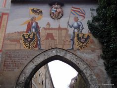 Fresco at the lower gate of Lamberg Castle in Steyr, Austria