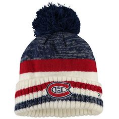 fa5142850eb Youth Montreal Canadiens Reebok Blue Center Ice Cuffed Pom Knit Hat