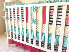 Crib Bedding - Black and White Stripe Watercolor Flowers, Glitz Gold Dot, and Aqua Herringbone