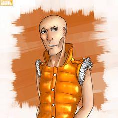 Um de meus OCs! Seu nome é Mosh!  Não sei bem o por que, mas ele gosta muito da cor laranja! Assim como da fruta! Não sei bem pq desenhei esse cara!! HAHAHAH    Desenho feito no Paint Tool SAI