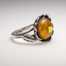 Vintage Sterling Silver Amber Ring size 6.5 --705