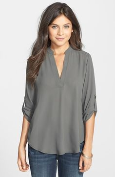 Lush Roll Tab Sleeve Woven Shirt (Juniors) | Nordstrom