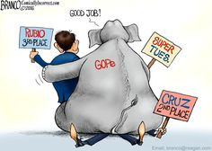 Favored Son: GOPe favors third place Rubio over 2nd place Cruz in the Super Tuesday outcome. Cartoon by A.F.Branco ©2016