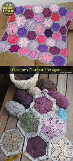 #Granny'sGardenHexagon #FreeCrochet PatternCrochet → Block for Blanket | size: 10"
