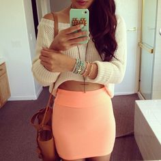 Peach bodycon skirt + knitted high-low sweater