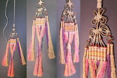 Antique Chinese Colorful Gold Wrapped Knotted Silk Fringe Tassel Trim. It is hand stitched and made of colorful pastel silk fringe tassels w...
