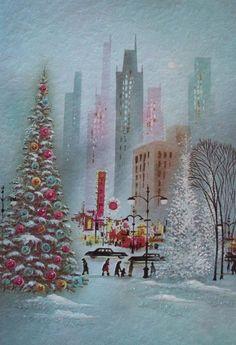 Christmas Graphics, Christmas Card Images, Christmas Art, Old Time Christmas, Vintage Christmas Images, Retro Christmas, Christmas Greeting Cards, Christmas Scenes, Christmas Greetings